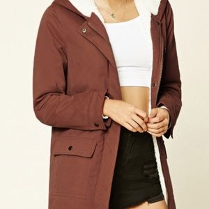Mauve Hooded Parka Jacket with fur lining
